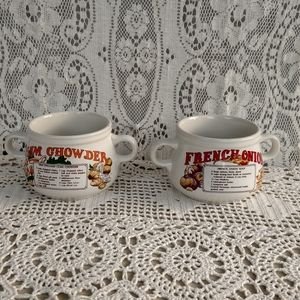 Pair of Recipe Soup Mugs Cups Stackable